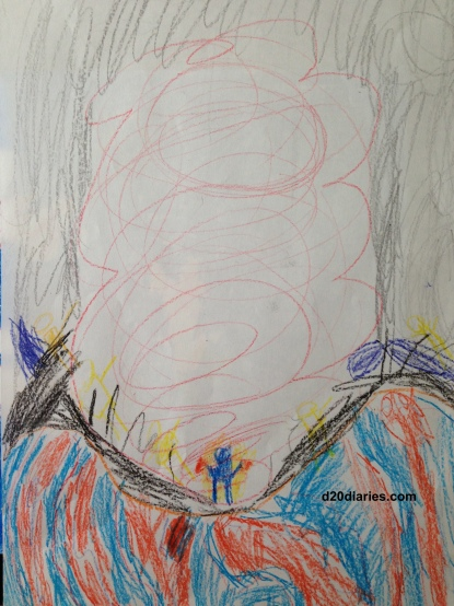Radioactive Robot in a nuclear crater! Art by my seven year old son.