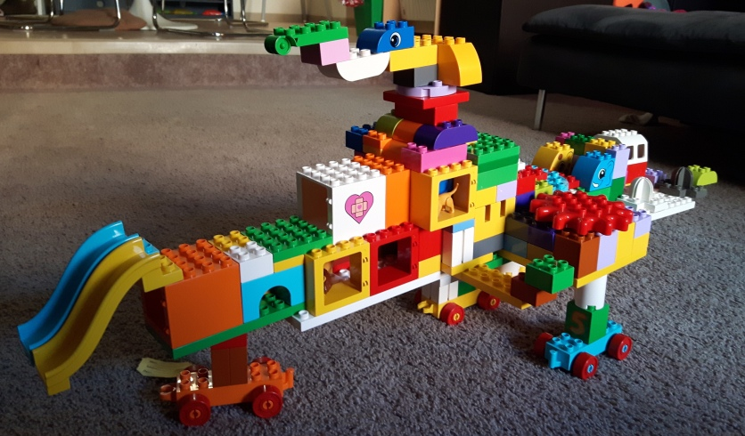 A LEGO Duplo starship created by my children.