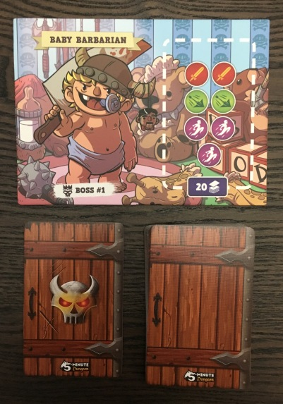Boss #1: Baby Barbarian. He takes two swords, two arrows, and three dash to defeat, and his dungeon contains twenty cards.