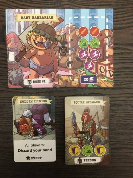 Baby Barbarian and an example of Challenge and Dungeon Cards